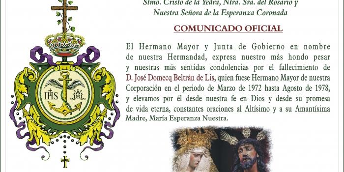 Fallecimiento D. José Domecq Beltrán de Lis (Ex Hermano Mayor)