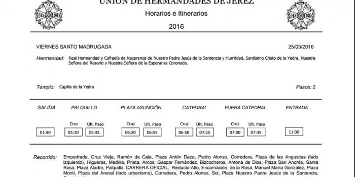 HORARIO E ITINERARIO 2016
