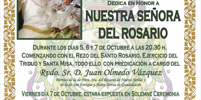 Próximo Cultos a celebrar en honor a NUESTRA SEÑORA DEL ROSARIO.