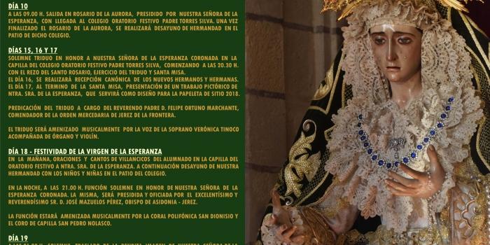 ROSARIO DE LA AURORA Y CULTOS A NUESTRA SEÑORA DE LA ESPERANZA CORONADA.