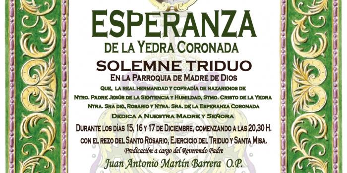 SOLEMNE TRIDUO EN HONOR A NTRA. SRA. DE LA ESPERANZA CORONADA.